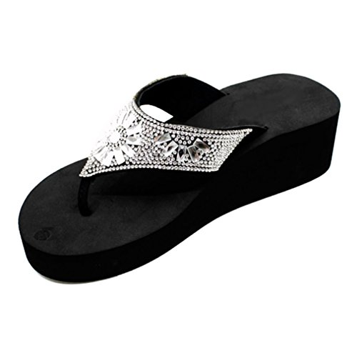 Best Pretty Sexy Urban Jewel Bedazzle Mid Platform Heel T-Strap Flip Flop Sandal for Women Big Girls (Wide Size 10) ()