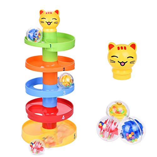 Cat Ball Drop Toys for Baby and Toddler, Learining Tower, Marble Track for Baby Educational Toys