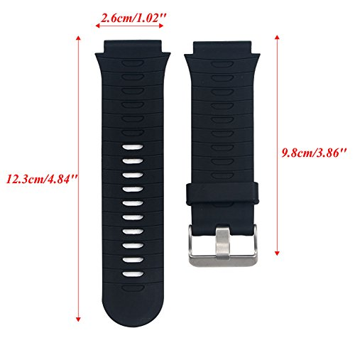 SCASTOE Silicone Replacement Watch Band Strap with Repair Tools + Pin for Garmin Forerunner 920XT Black