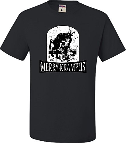 Large Black Adult Merry Krampus Christmas Demon T-Shirt -
