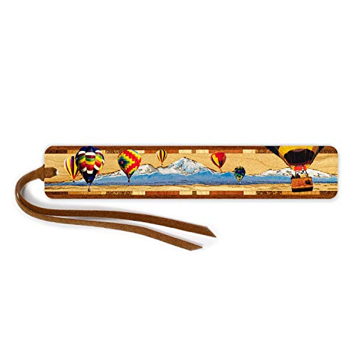 - Hot Air Balloons Color and Engraved Wooden Bookmark on Maple with Brown Suede Tassel