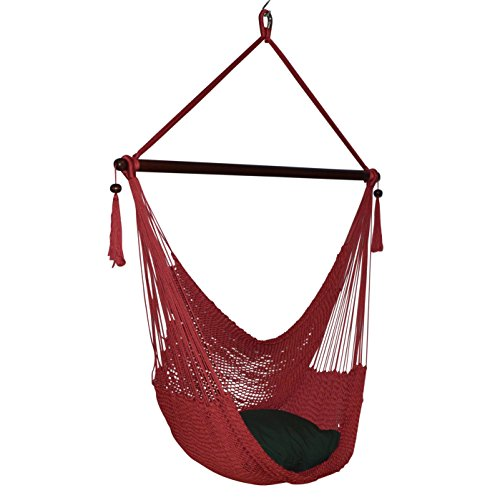 Caribbean Hammocks Large Chair - 48 Inch - Polyester - Hanging Chair - red