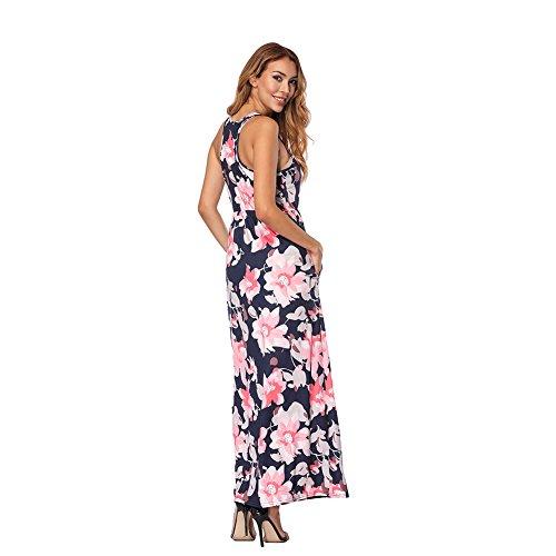 ff7b861ab60f8d ... Kleider Waist Maxi Sommerkleid Rosa High Damen Maxikleid Boho  Lover-beauty Kurzarm Lang Blumen ...