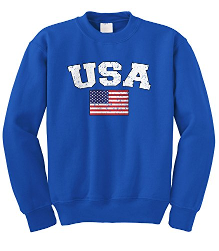 Cybertela Faded Distressed USA Flag Crewneck Sweatshirt (Royal Blue, ()