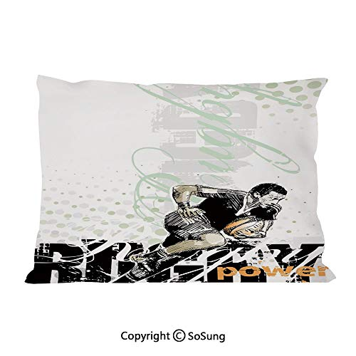 Tufted Hand Rugby Black - Sports Bed Pillow Case/Shams Set of 2,Sketchy Rugby Player with a Ball Running Power Muscular Strength Challenge Decorative King Size Without Insert (2 Pack Pillowcase 36