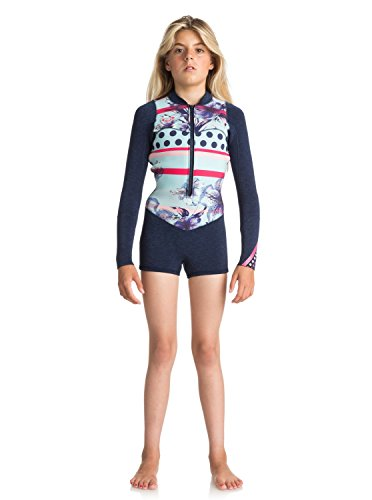 Roxy Girls Roxy 2Mm Pop Surf - Long Sleeve Front Zip Springsuit - Girls 7-14 - 10G - Blue Navy 10G by Roxy
