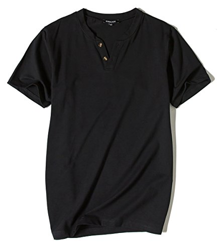 Men Cotton Heley Shirts V Neck Short Sleeve T-shirts Casual Top Tee