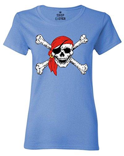Shop4Ever Jolly Roger Skull & Crossbones Women's T-Shirt Pirate Flag Shirts