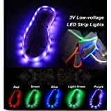 1M White 60 SMD 3528 Waterproof USB Rechargeable LED Shoe Strip Lights 3V -