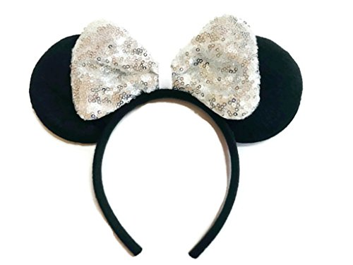 MeeTHan Mickey Mouse Minnie Mouse Sequin Ears Headbands: M8 (SQ-White)