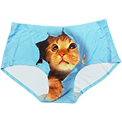 BR Peek-My-Cat Peeking Kitty Women's Ladies Seamless Panties Ultra Soft Light Weight (BLUE)