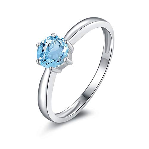 KnSam Sterling Silver Jewelry Rings for Women Fashion Round Brilliant Shape Topaz 5x5.5MM Size 8.5