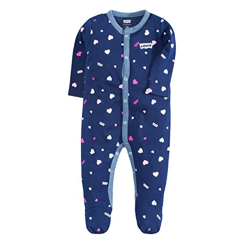 Levi's Baby Girls Long Sleeve Footed Coverall, Medieval Blue Chambray, 3M ()