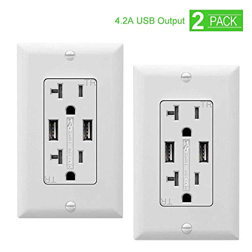 SZICT Outlet with USB Ports, 4.2A USB Outlet, USB Wall Outlet, USB Charger Outlet, Dual USB Charger with 20A Tamper Resistant Duplex Receptacle, 2-Pack, - Outlet 20a Install