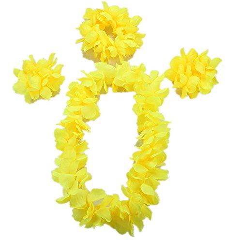 (Hawaiian Luau Flower Leis Jumbo Necklace Bracelets Headband Set (Yellow))
