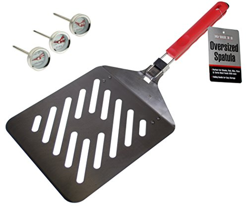 Mr. BBQ Oversized Stainless Steel Spatula with Colored Handle (Jumbo Bbq Spatula)