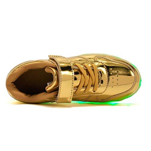 LED Sportschuhe für Herren Damen USB Aufladen 7 Lichtfarbe 11 Beleuchtenmodi Sport Schuhe Kinder Jungen Mädchen Laufschuhe Leuchtend Sneaker Turnschuhe Unisex Spiegel Gold