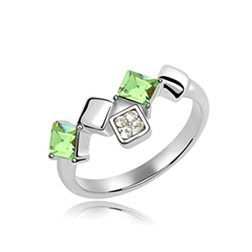 Gnzoe Womens Stainless Steel Crystal Line Square Cubic Zirconia Olive Wedding Ring Size 7