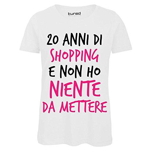 CHEMAGLIETTE! T-Shirt 100% Cotone Donna Maglietta Divertente con Stampa Frasi 20 Anni Shopping Tuned Bianco