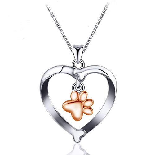 Kokoma Rose Gold Puppy Paw Cute Cat Dog Bone Sterling Silver Pendant Necklaces for Pet Lovers Women Girls