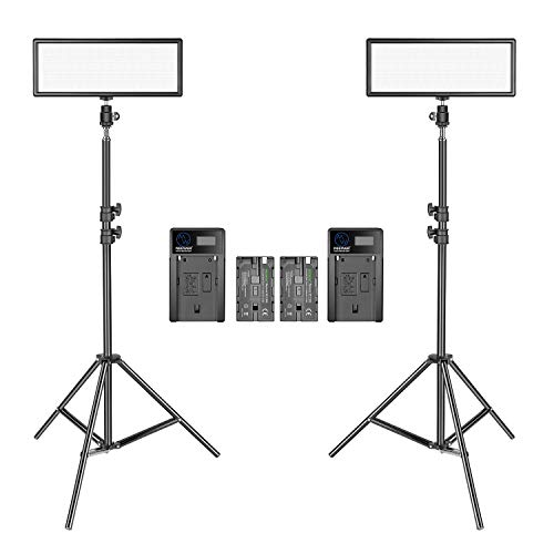 Neewer 2 Packs Super Slim LED Video Light with Light Stand Photography Lighting Kit, 3200K-5600K Bi-Color Dimmable LED…
