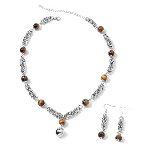 (Shop LC Delivering Joy Earrings Necklace Set Stainless Steel Beads Tigers Eye Gift Jewelry for Women)