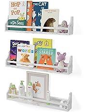 "Brightmaison Angel Floating Shelves for Wall, Toy Storage Shelf & Kids Bookshelf Wood Shelves for Home Decor 30"" Set of 3 Rustic White"