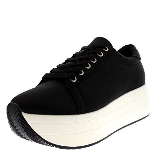 Womens Summer Chic Festival Casual Fashion Platform Wedge Heel Sneakers Black/White