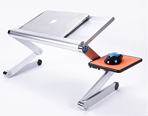 Price comparison product image TongTa Portable Adjustable Aluminum Alloy Laptop Stand Desk Table Vented Fan with Ergonomic Mouse Pad Side Up to 17 inch (Silver)