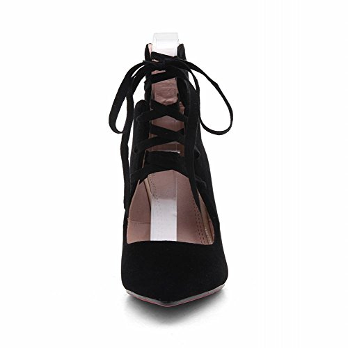 Zwarte Dameszool Sandalen Met Zwarte Veter Sexy Stilettos En Damessandalen Zwart