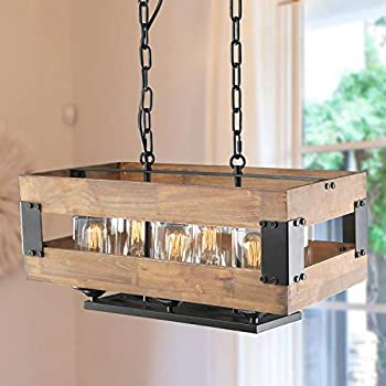 LALUZ 6-light Wood Kitchen Island Light Rustic Pendant
