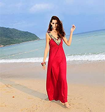 Pretty Bohemian Style Long Dress V Neck Evening Dress Beach Dress