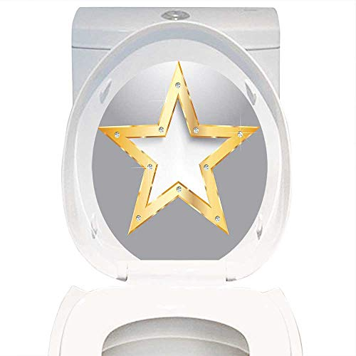 Bathroom Toilet seat Sticker Decal Diamond Decor Big Star on Metal Plate with Diamonds Hanging in The Air Love Luxury Home Golden and Gray. Decal Sticker Vinyl W14 x L14