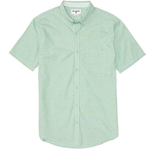 (Billabong Men's All Day Short Sleeve Woven Shirt, Mint, Large)