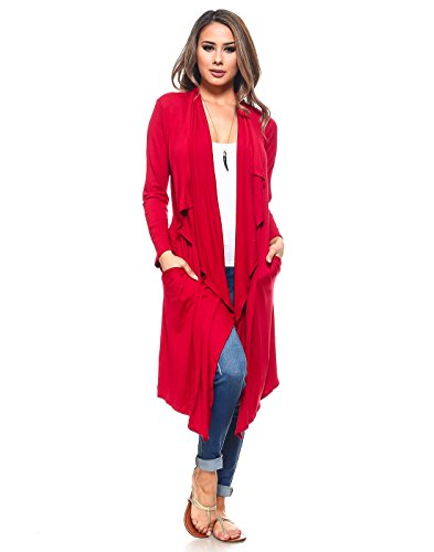 Isaac Liev Women's Drape Front Lightweight Cardigan (Small, - Trench Red Coat Long