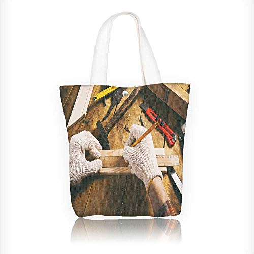 Canvas Tote Bag the carpenter works with wood on workspace Hanbag Women Shoulder Bag Fashion Tote Bag W16.5xH14xD7 INCH