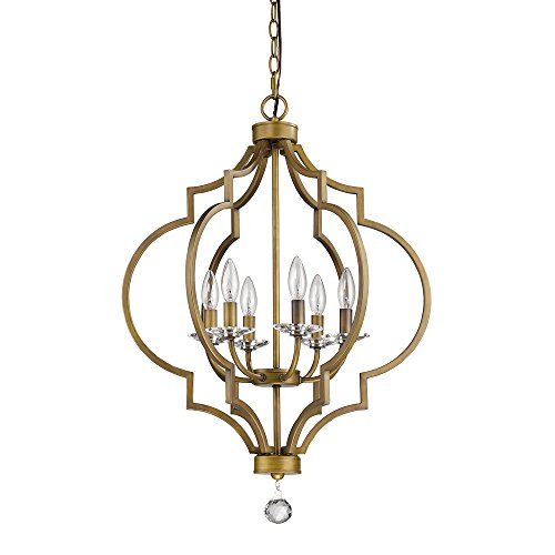 Acclaim Lighting IN11018RB Peyton Indoor 6-Light Chandelier with Crystal Bobeches, Raw Brass