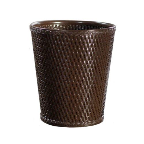 Lamont Home Carter Round Wicker Waste Basket, Chocolate