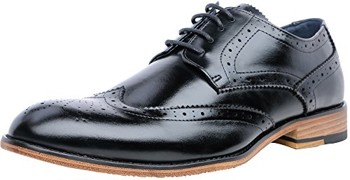 FOCUS STEP Men's Brogue Oxford Shoes Wing-Tip Lace Up Dress Shoes