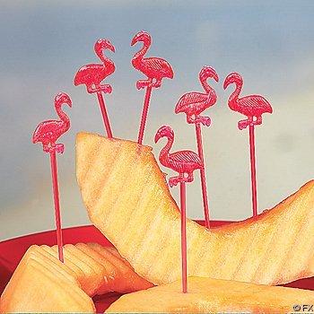 Fun Express Plastic Pink Flamingo Picks - 72 Pieces - Decorative Toothpicks