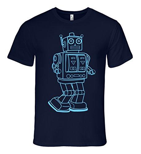 Mission Thread Clothing Mens Vintage Toy Robot T-Shirt Medium Navy