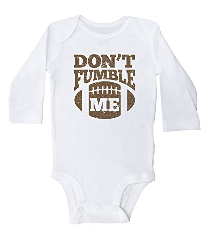 Baffle Funny Football Onesies for Babies/Don't Fumble ME/Baby Bodysuit (Newborn, White LS)]()