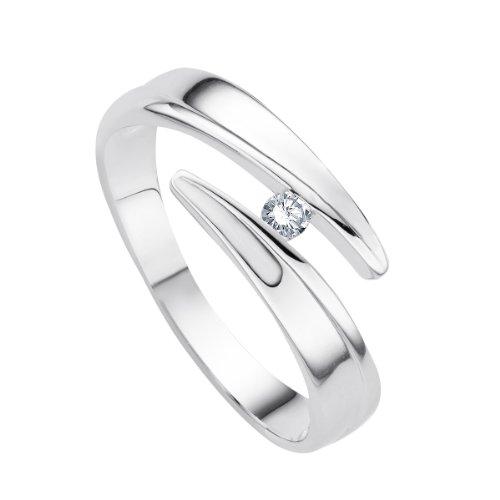 Diamond Line - 113506 - Bague Femme - Or Blanc 9 Cts 375/1000 1.9 Gr - Diamant  - T 52 (16.6)