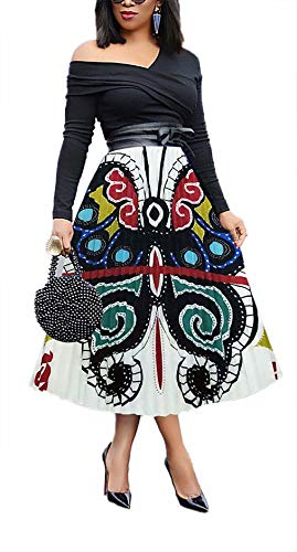 (Women Casual Pleated High Waisted Skirt Floral Printed Summer Vintage Midi Skirts Plus Size)