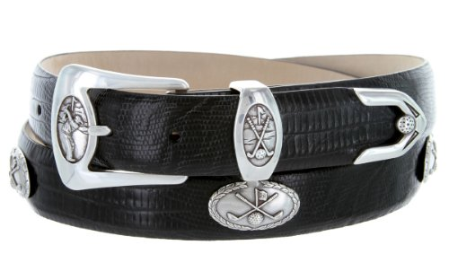 BC3109 - Men's Italian Calfskin Designer Dress Belt with Golf Conchos (42 Lizard Black) - Black Calfskin Belt Strap