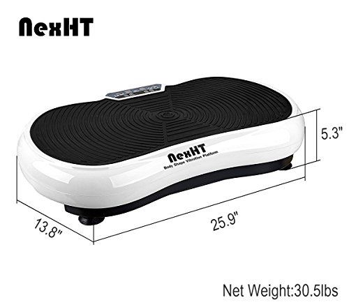 NexHT Fitness Body Shape Vibration Platform,Fit Massage Exercise Machine,Whole Body Workout Trainer with Remote Controller &Resistance Bands, Max User Weight 330lbs.(White 89007A) by NexHT (Image #3)