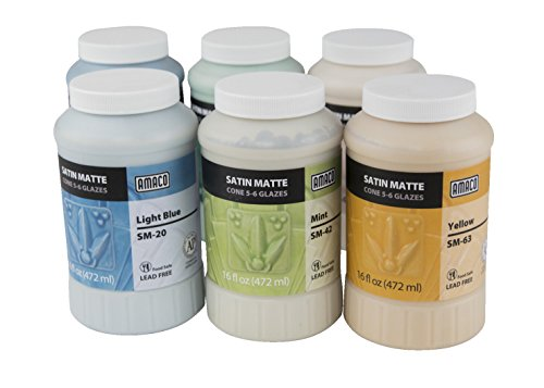 - AMACO Satin Matte Glaze Classroom Pack 2, Assorted Colors, Set of 6 Pints