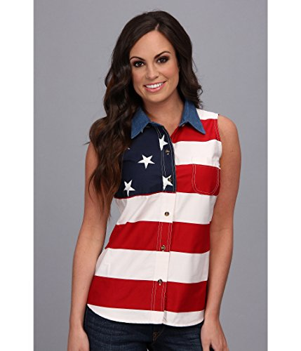 Roper Women's S/L Stars and Stripes Pieced Flag, Red 3, 3X
