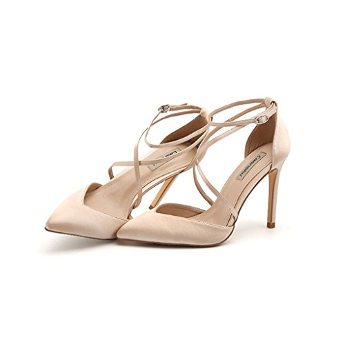 Dream Ladies Shoes Elegant Satin Pointed High Heels Sexy Ankle Shoes Leather Shoes (Color : Beige, Size : 38)