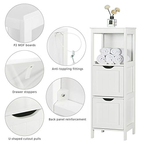lunanice Home Furniture Bathroom Storage Cabinet Floor Cabinet Wooden Free Standing with 2 Drawers White Size 11.8x11.8x35 Restroom Toiletries Cabinets & Cupboards Living Room Bedroom